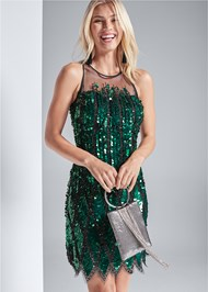 Cropped Front View Sequin Embellished Dress