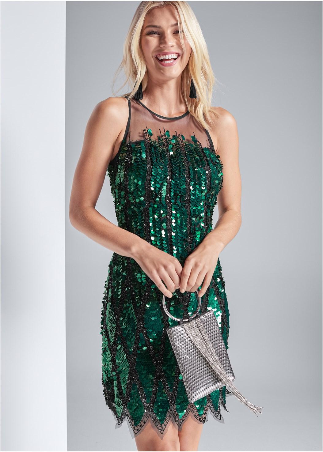 Sequin Embellished Dress,Embellished Strappy Heel,Jewel Fringe Earrings,Embellished Bag