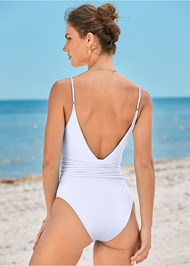 Back View V-Neck Ring One Piece