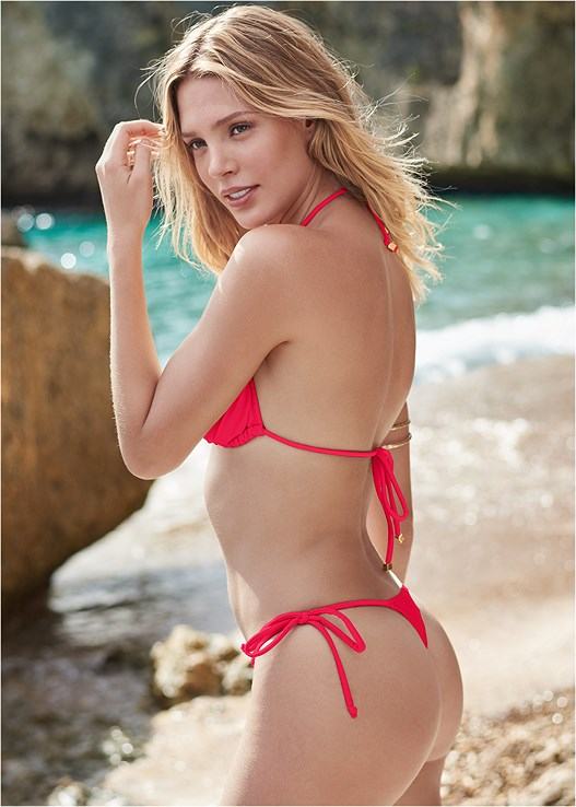 THONG TIE SIDE BOTTOM,TRIANGLE BIKINI TOP,STRAPPY BANDEAU TOP,LACE UP ENHANCER,JERSEY FISHNET JUMPSUIT