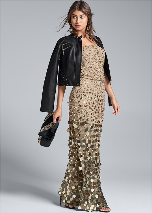 SEQUIN EMBELLISHED DRESS,FAUX LEATHER LACE UP JACKET,MEDALLION DROP EARRINGS
