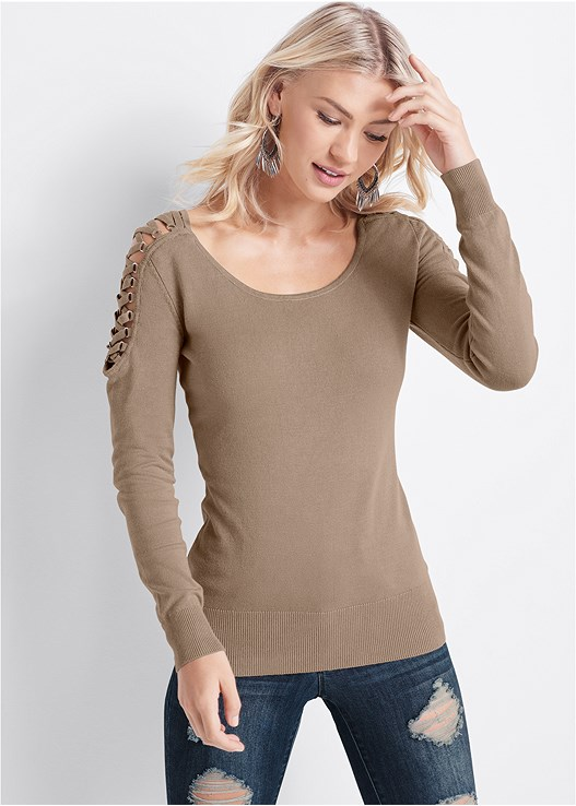 LACE UP DETAIL SWEATER,PUSH UP BRA BUY 2 FOR $40