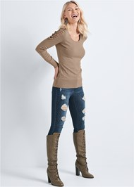 Front View Lace Up Detail Sweater