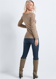 Back View Lace Up Detail Sweater