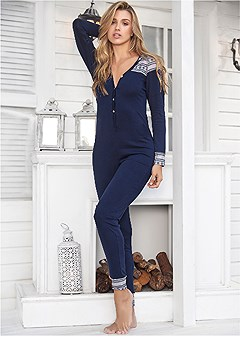 plus size printed sleep onesie