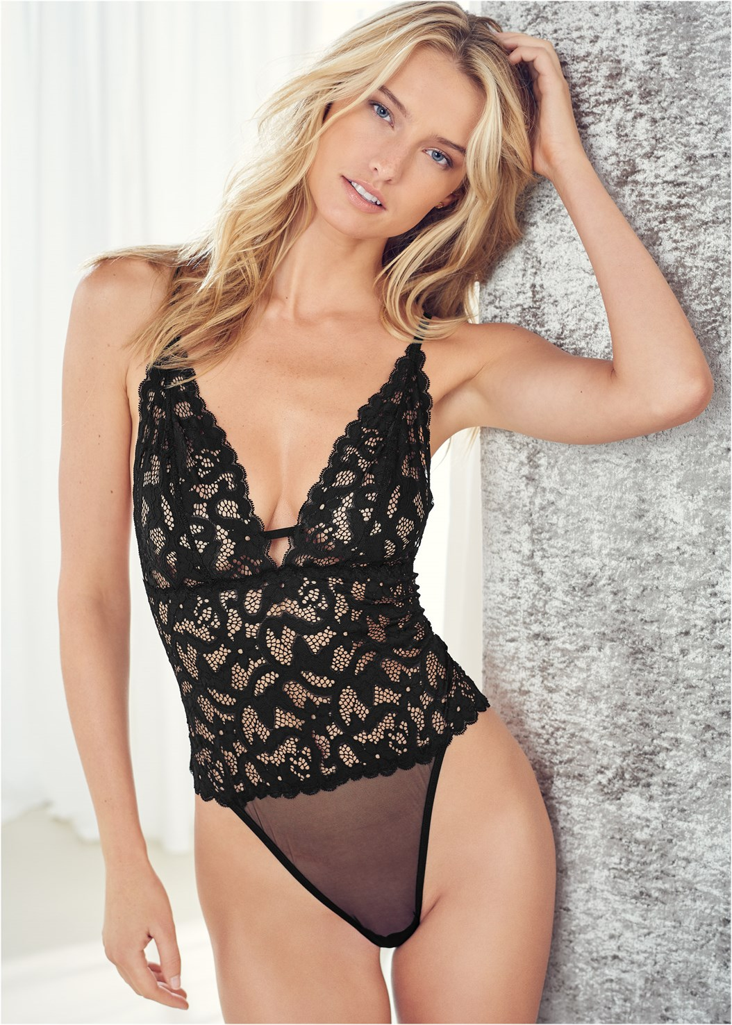 Sheer Lace Bodysuit,High Heel Strappy Sandals