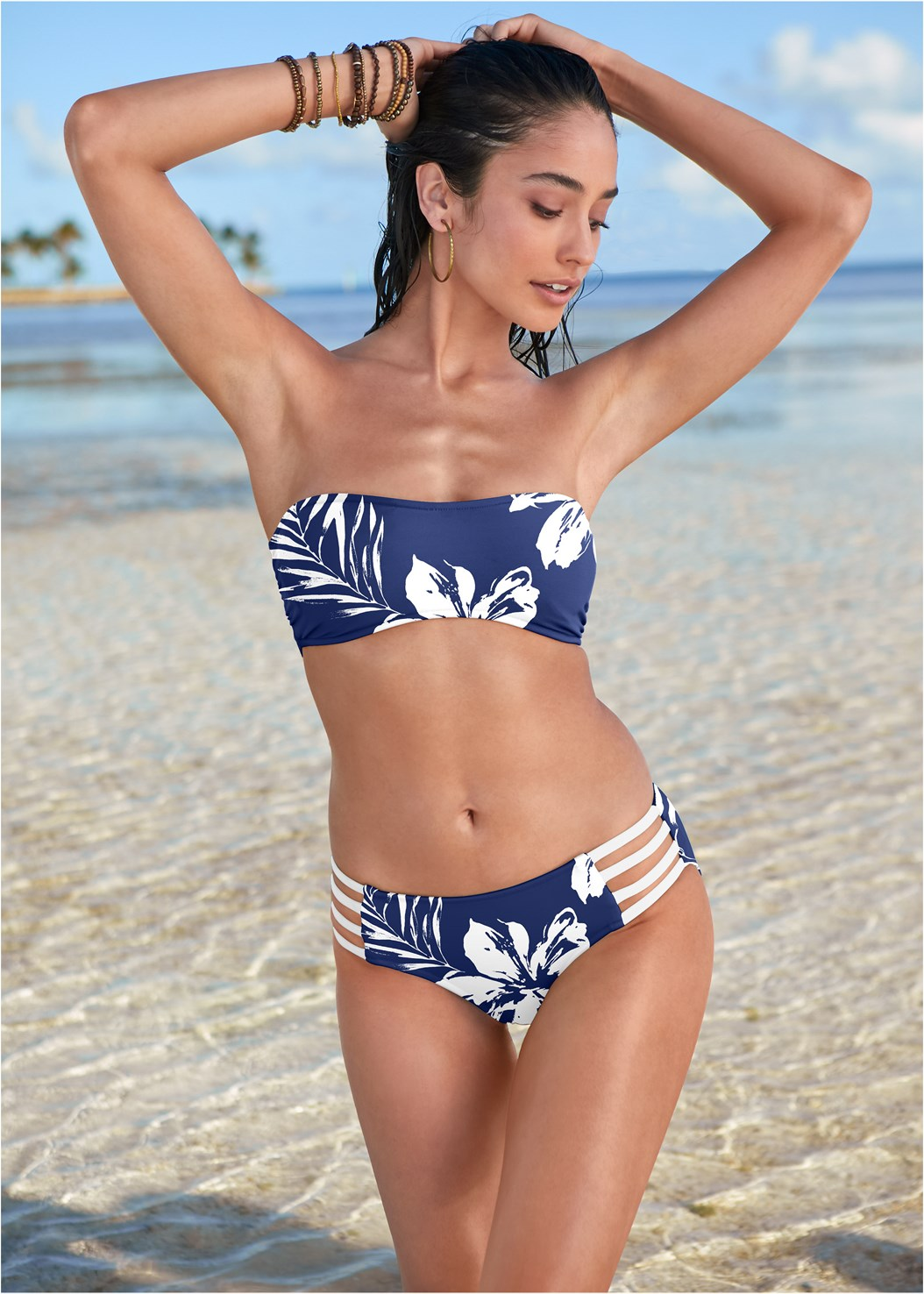 Strappy Bandeau Top,Mid Rise Strappy Bottom,Low Rise Classic Bikini Bottom ,Mid Rise Hipster Classic Bikini Bottom,Ruched High Waist Bottom,Romper Cover-Up