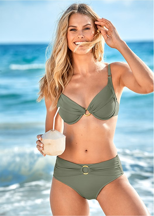 SALLY MID RISE BOTTOM,UNDERWIRE RING TOP,STRAPPY BANDEAU TOP,TRIANGLE BIKINI TOP,SASH TIE MAXI COVER-UP