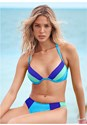 Full front view Color Block Push Up Halter