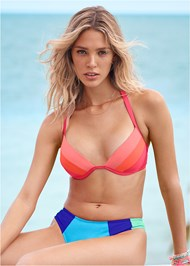 Front View Color Block Push Up Halter