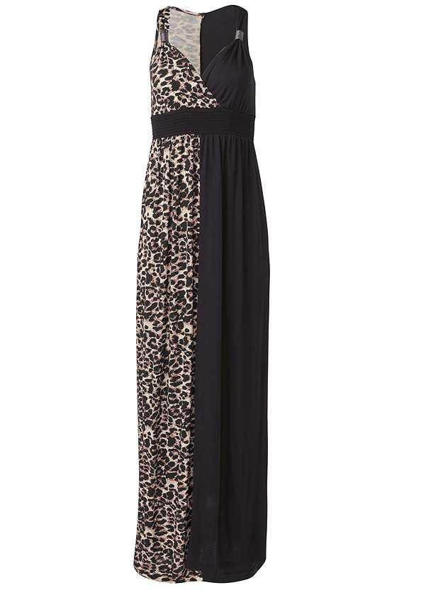Leopard Detail Maxi Dress,Hoop Earrings