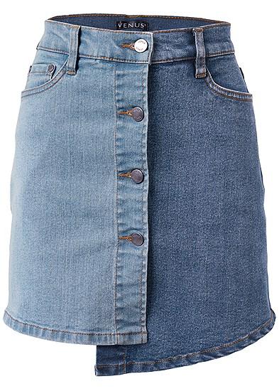 Plus Size Two Toned Denim Skirt