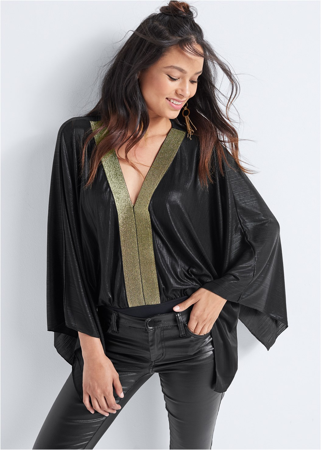 Statement Sleeve Bodysuit,Faux Leather Pants