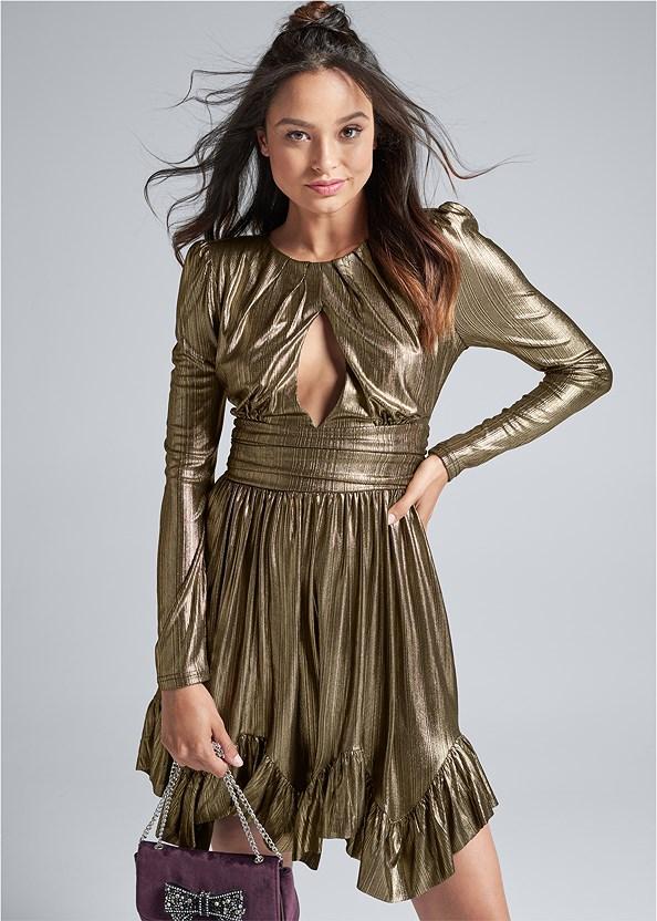 Liquid Metallic Dress,Stud Detail Lucite Heels