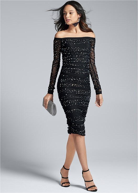 EMBELLISHED STRAPLESS DRESS,EMBELLISHED STRAPPY HEEL,RHINESTONE CLUTCH