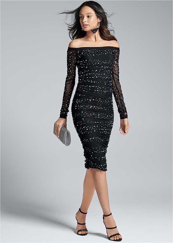 Embellished Strapless Dress,Rhinestone Clutch
