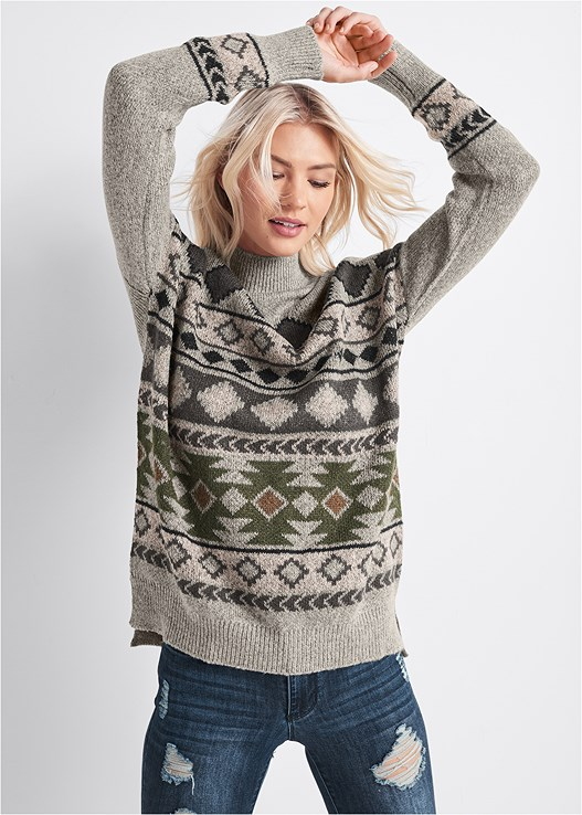 AZTEC PRINTED SWEATER,DISTRESSED BUM LIFTER,LONGLINE PUSH UP BRA,LACE UP TALL BOOTS