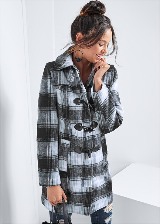 PLAID COAT,SEAMLESS CAMI,DISTRESSED BUM LIFTER,KISSABLE STRAPPY PUSH UP,BAUBLE HOOP EARRINGS