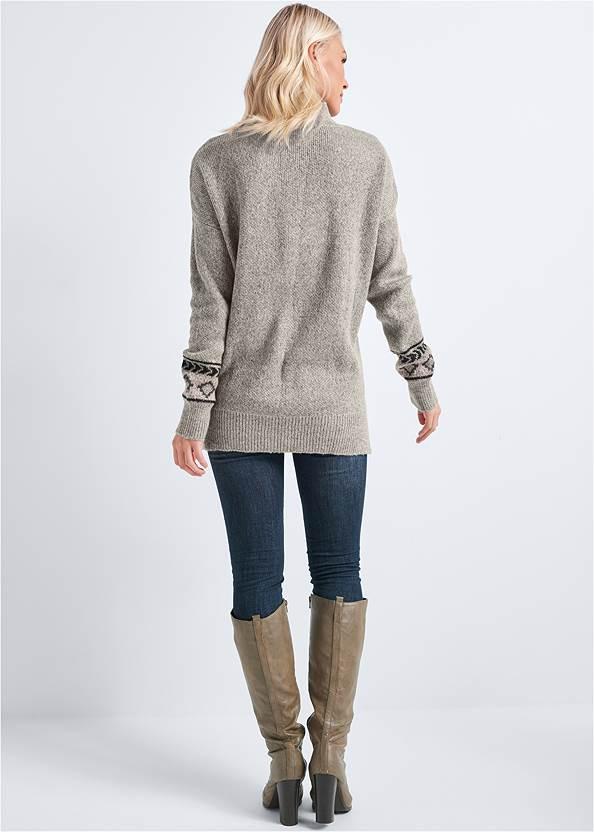 Back View Geometric Printed Sweater