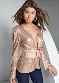 Front View Belted Sequin Top