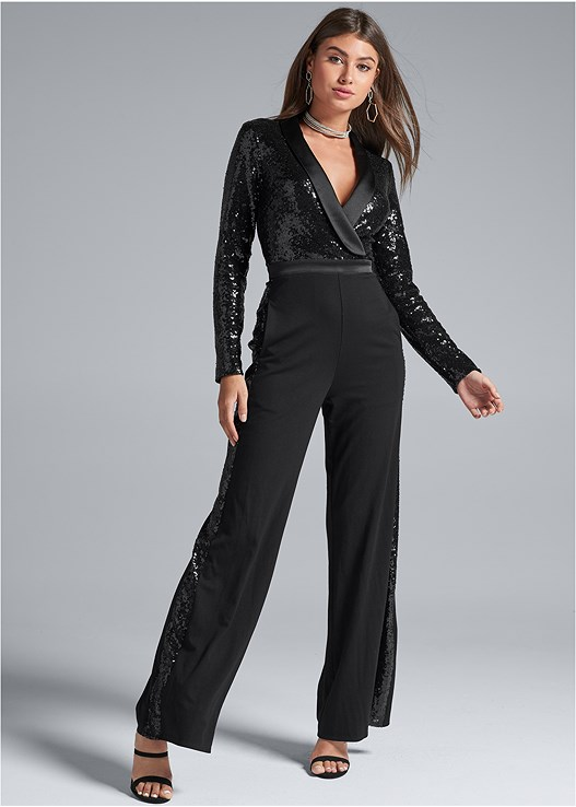 SEQUIN DETAIL JUMPSUIT,KISSABLE STRAPPY PUSH UP,EMBELLISHED STRAPPY HEEL