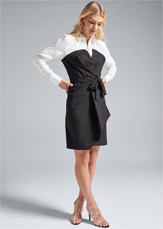 PINSTRIPE DRESS,PUSH UP BRA BUY 2 FOR $40,EMBELLISHED LUCITE HEEL