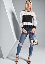 Alternate View Ruffle Hem Sweater