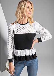 Front View Ruffle Hem Sweater