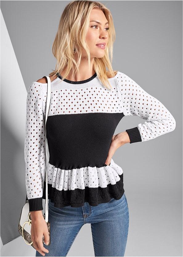Ruffle Hem Sweater,Beaded Hoop Earrings,Print Detail Handbag