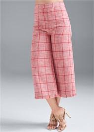 Front View Wide Leg Tweed Pants