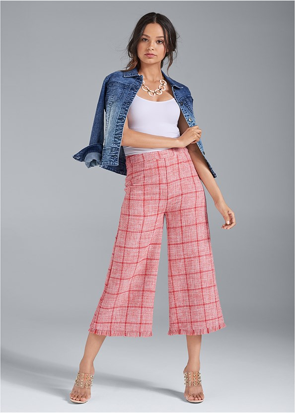 Wide Leg Tweed Pants,Basic Cami Two Pack,Jean Jacket,Lace Up Tweed Top,Embellished Lucite Heel,Long Link Necklace