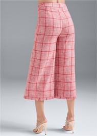 Back View Wide Leg Tweed Pants