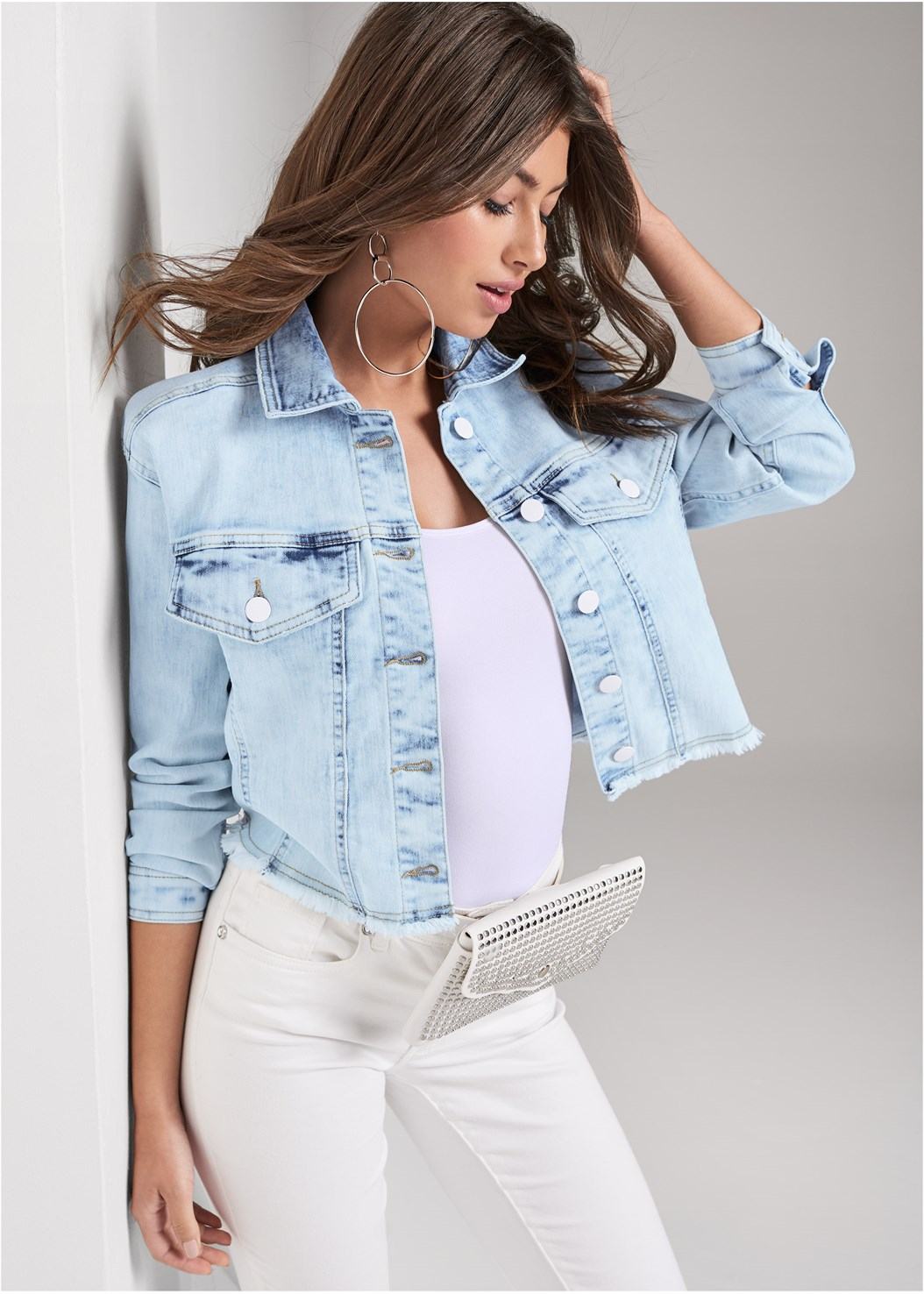 Acid Wash Denim Jacket,Basic Cami Two Pack,Mid Rise Color Skinny Jeans,Ruched Bodycon  Side Slit Maxi Dress,Push Up Bra Buy 2 For $40,High Heel Strappy Sandals,Beaded Fringe Earrings,Hoop Earrings,Studded Belt Bag,Beaded Crossbody