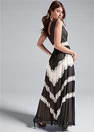 Back View Lace Inset V-Neck Dress