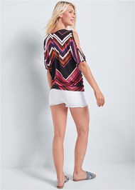 Back View Cold Shoulder Chevron Top