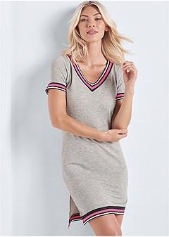 stripe detail lounge dress