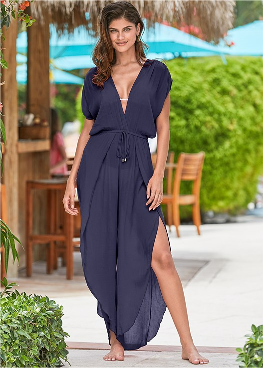 SIDE SLIT COVER-UP JUMPSUIT,TRIANGLE BIKINI TOP,SCOOP FRONT BIKINI BOTTOM,MULTI COLOR STONE SANDALS,STEVE MADDEN SUNGLASSES