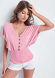 Front View Smocked Waist Top