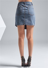 Back View Two Toned Denim Skirt