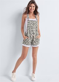 Full front view French Terry  Drawstring Short Overalls