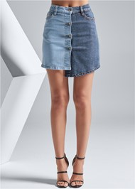 Front View Two Toned Denim Skirt