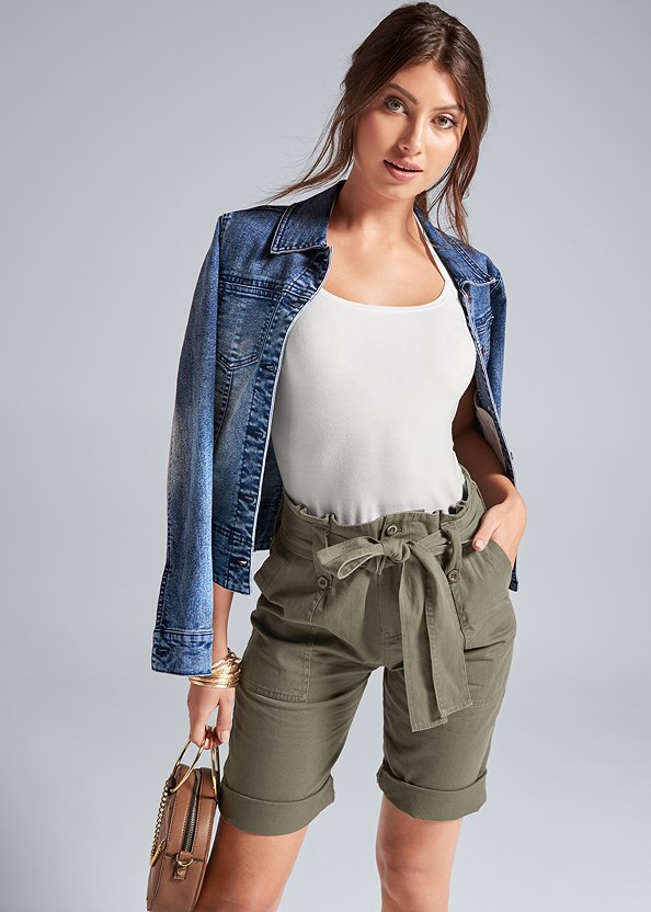Belted Bermuda Shorts,Easy Halter Top,Jean Jacket,Circle Ring Detail Handbag