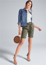 Front View Belted Bermuda Shorts