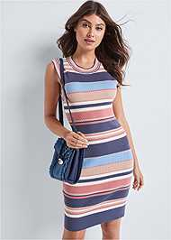 Front View Striped Sweater Dress