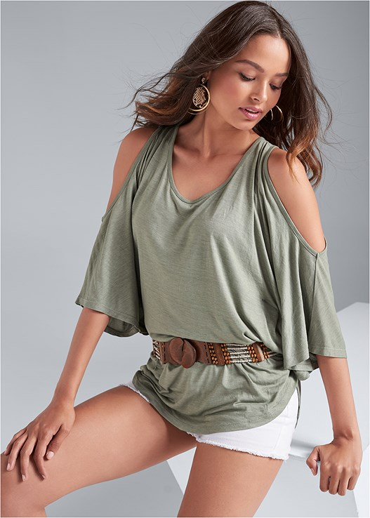 COLD SHOULDER TUNIC,CUT OFF JEAN SHORTS,PUSH UP BRA BUY 2 FOR $40,BEADED BELT