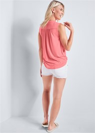 Back View Casual V-Neck Top