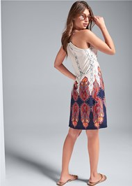 Back View Printed Casual Dress
