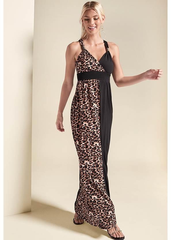 Front View Leopard Detail Maxi Dress