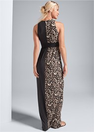 BACK View Leopard Detail Maxi Dress