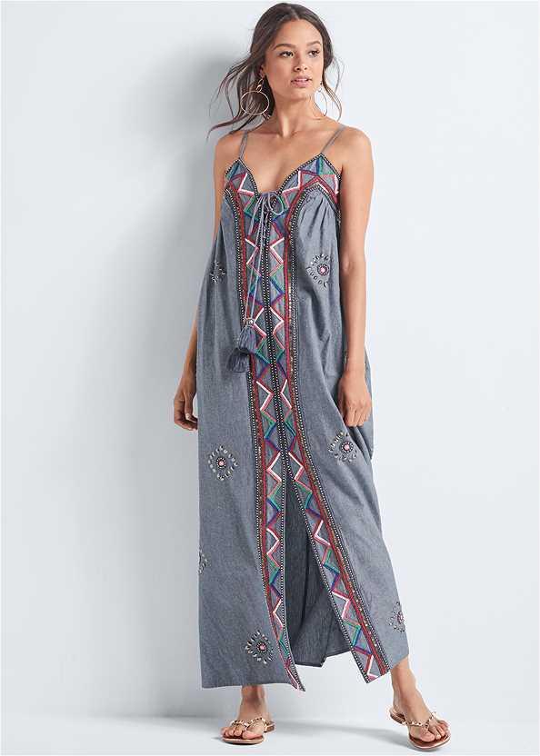 Oversized Beaded Dress,Studded Flip Flops